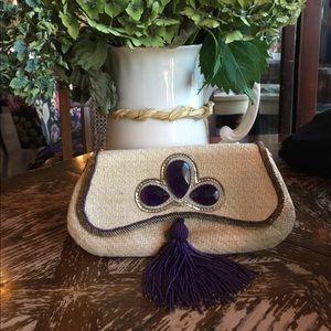 Anya Hindmarch Jeweled Tassel Straw Suede Clutch